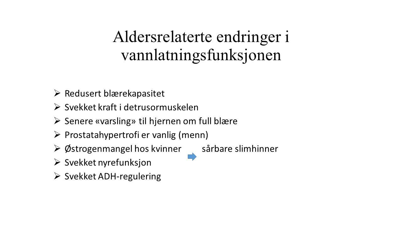 Aldersrelaterte endringer i vannlatningsfunksjonen  Redusert blærekapasitet  Svekket kraft i detrusormuskelen  Senere «varsling» til hjernen om full blære  Prostatahypertrofi er vanlig (menn)  Østrogenmangel hos kvinner sårbare slimhinner  Svekket nyrefunksjon  Svekket ADH-regulering