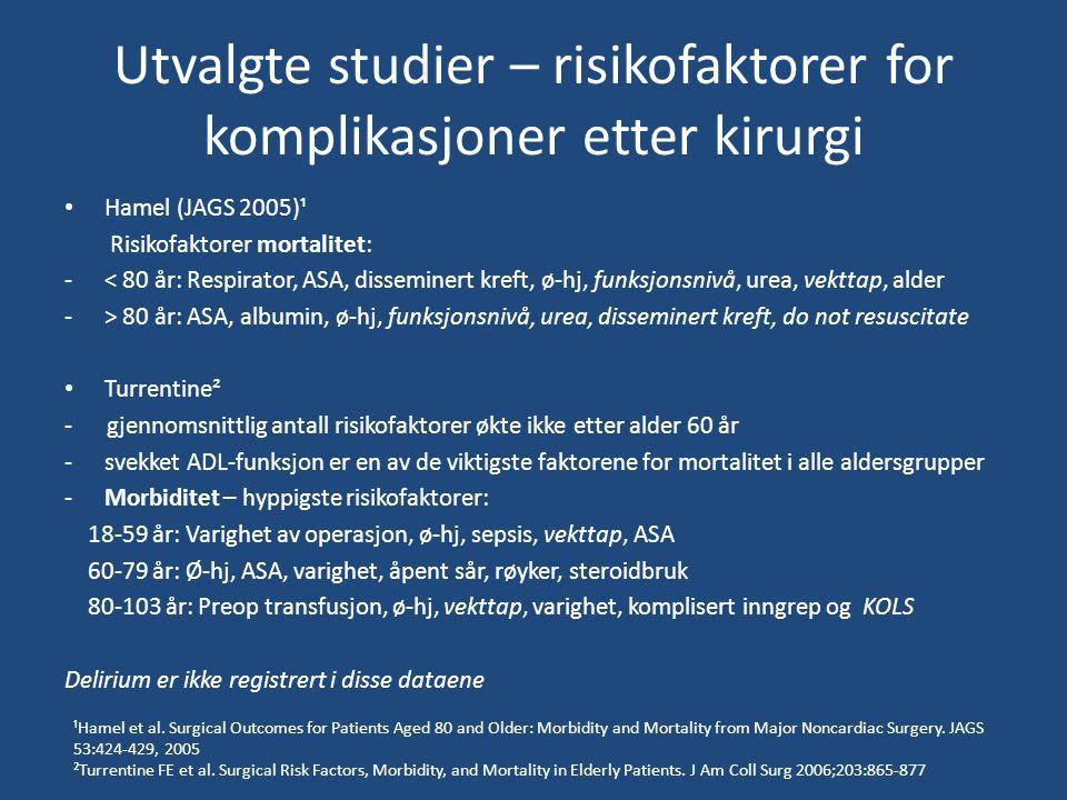 Utvalgte studier – risikofaktorer for komplikasjoner etter kirurgi Hamel (JAGS 2005)¹ Risikofaktorer mortalitet: -< 80 år: Respirator, ASA, disseminert kreft, ø-hj, funksjonsnivå, urea, vekttap, alder -> 80 år: ASA, albumin, ø-hj, funksjonsnivå, urea, disseminert kreft, do not resuscitate Turrentine² - gjennomsnittlig antall risikofaktorer økte ikke etter alder 60 år -svekket ADL-funksjon er en av de viktigste faktorene for mortalitet i alle aldersgrupper -Morbiditet – hyppigste risikofaktorer: 18-59 år: Varighet av operasjon, ø-hj, sepsis, vekttap, ASA 60-79 år: Ø-hj, ASA, varighet, åpent sår, røyker, steroidbruk 80-103 år: Preop transfusjon, ø-hj, vekttap, varighet, komplisert inngrep og KOLS Delirium er ikke registrert i disse dataene ¹Hamel et al.