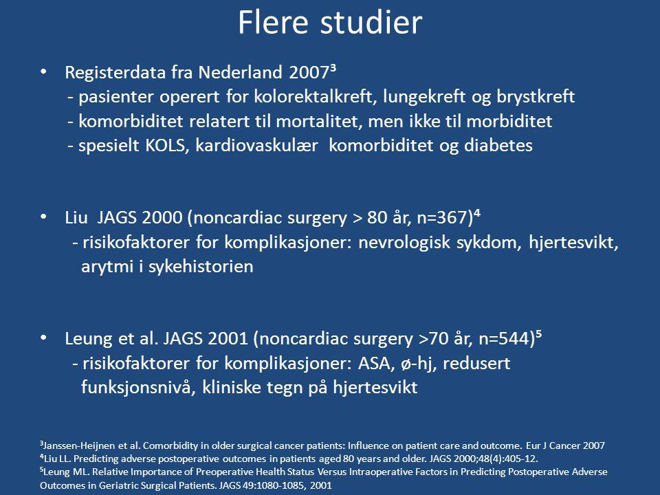 Flere studier Registerdata fra Nederland 2007³ - pasienter operert for kolorektalkreft, lungekreft og brystkreft - komorbiditet relatert til mortalitet, men ikke til morbiditet - spesielt KOLS, kardiovaskulær komorbiditet og diabetes Liu JAGS 2000 (noncardiac surgery > 80 år, n=367)⁴ - risikofaktorer for komplikasjoner: nevrologisk sykdom, hjertesvikt, arytmi i sykehistorien Leung et al.