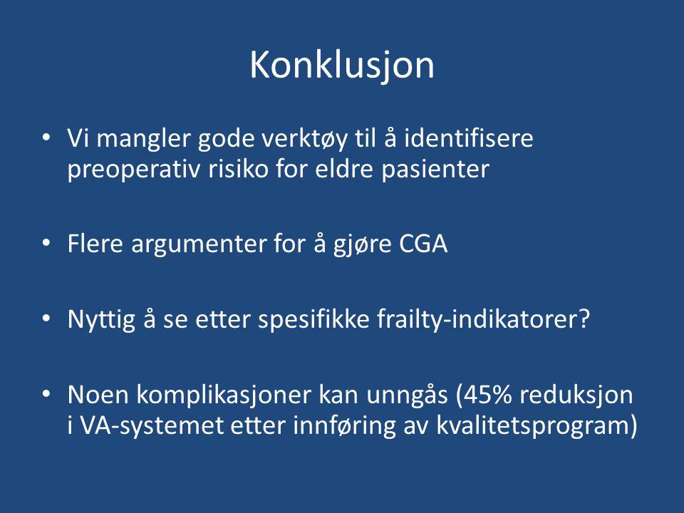 Konklusjon Vi mangler gode verktøy til å identifisere preoperativ risiko for eldre pasienter Flere argumenter for å gjøre CGA Nyttig å se etter spesifikke frailty-indikatorer.