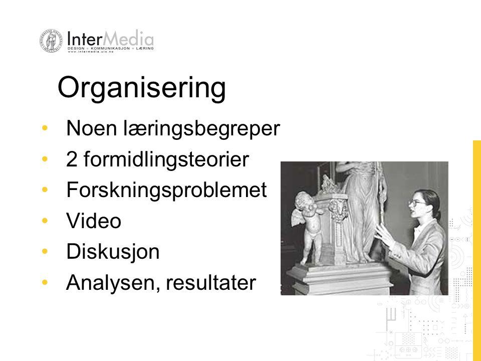 Organisering Noen læringsbegreper 2 formidlingsteorier Forskningsproblemet Video Diskusjon Analysen, resultater