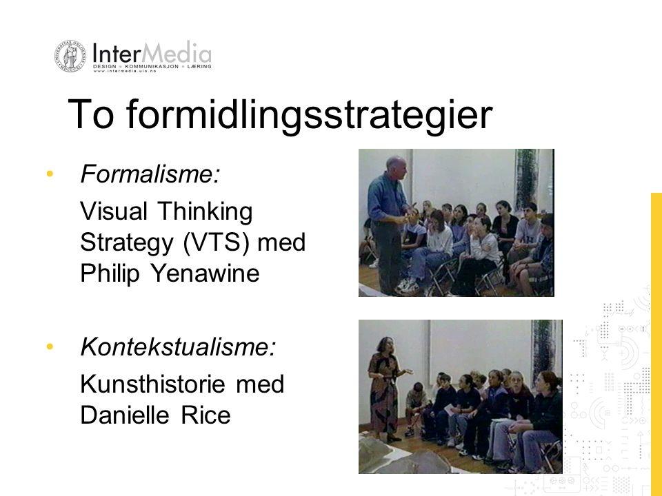 To formidlingsstrategier Formalisme: Visual Thinking Strategy (VTS) med Philip Yenawine Kontekstualisme: Kunsthistorie med Danielle Rice