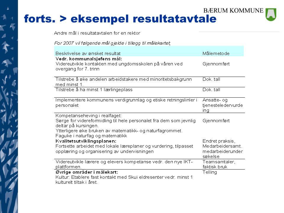 forts. > eksempel resultatavtale