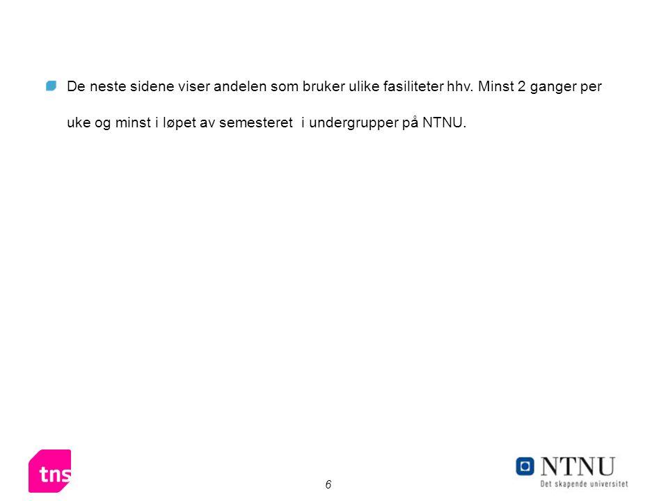 6 De neste sidene viser andelen som bruker ulike fasiliteter hhv. Minst 2 ganger per uke og minst i løpet av semesteret i undergrupper på NTNU.
