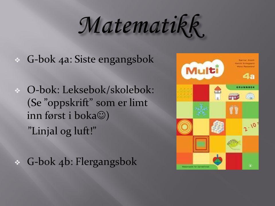 G-bok 4a: Siste engangsbok  O-bok: Leksebok/skolebok: (Se oppskrift som er limt inn først i boka ) Linjal og luft!  G-bok 4b: Flergangsbok