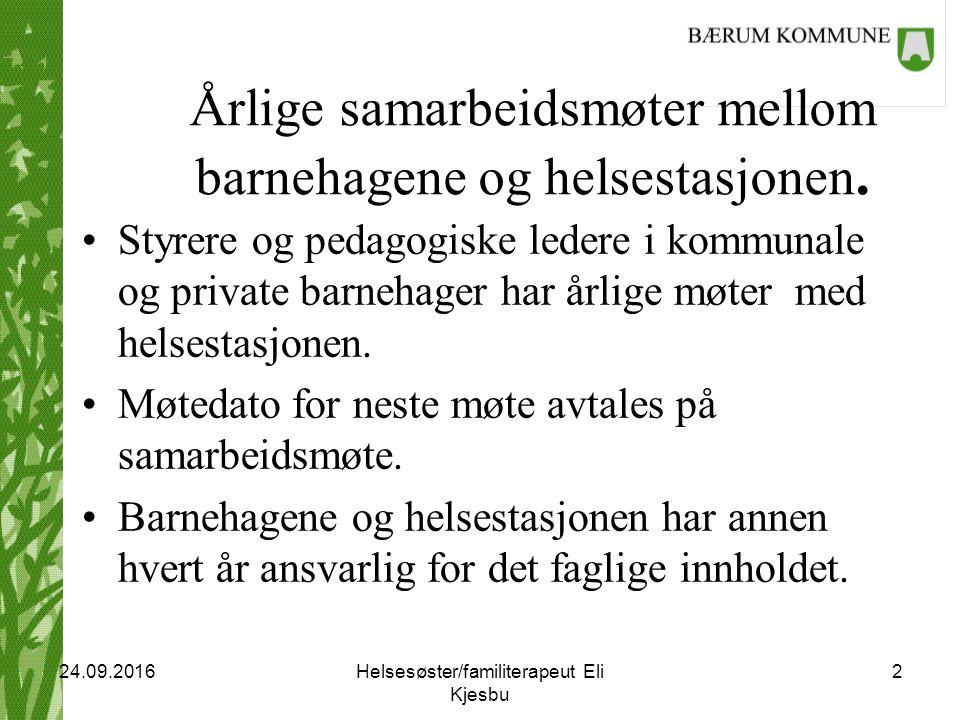 Helsesøster/familiterapeut Eli Kjesbu 2 24.09.2016 Årlige samarbeidsmøter mellom barnehagene og helsestasjonen.