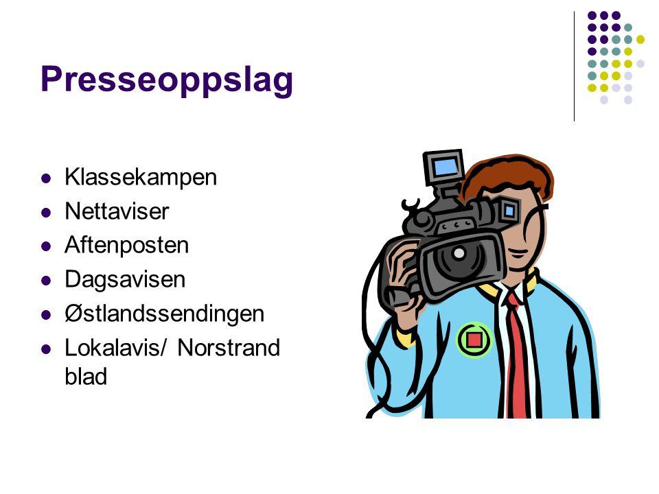 Presseoppslag Klassekampen Nettaviser Aftenposten Dagsavisen Østlandssendingen Lokalavis/ Norstrand blad