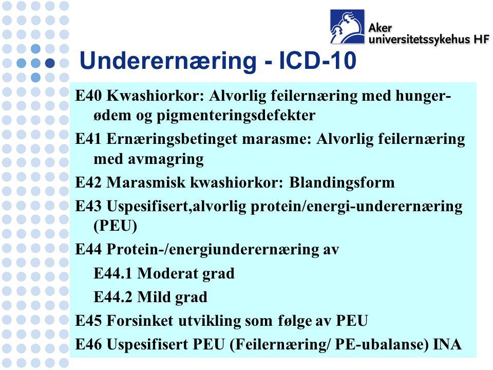 Underernæring - ICD-10 E40 Kwashiorkor: Alvorlig feilernæring med hunger- ødem og pigmenteringsdefekter E41 Ernæringsbetinget marasme: Alvorlig feilernæring med avmagring E42 Marasmisk kwashiorkor: Blandingsform E43 Uspesifisert,alvorlig protein/energi-underernæring (PEU) E44 Protein-/energiunderernæring av E44.1 Moderat grad E44.2 Mild grad E45 Forsinket utvikling som følge av PEU E46 Uspesifisert PEU (Feilernæring/ PE-ubalanse) INA