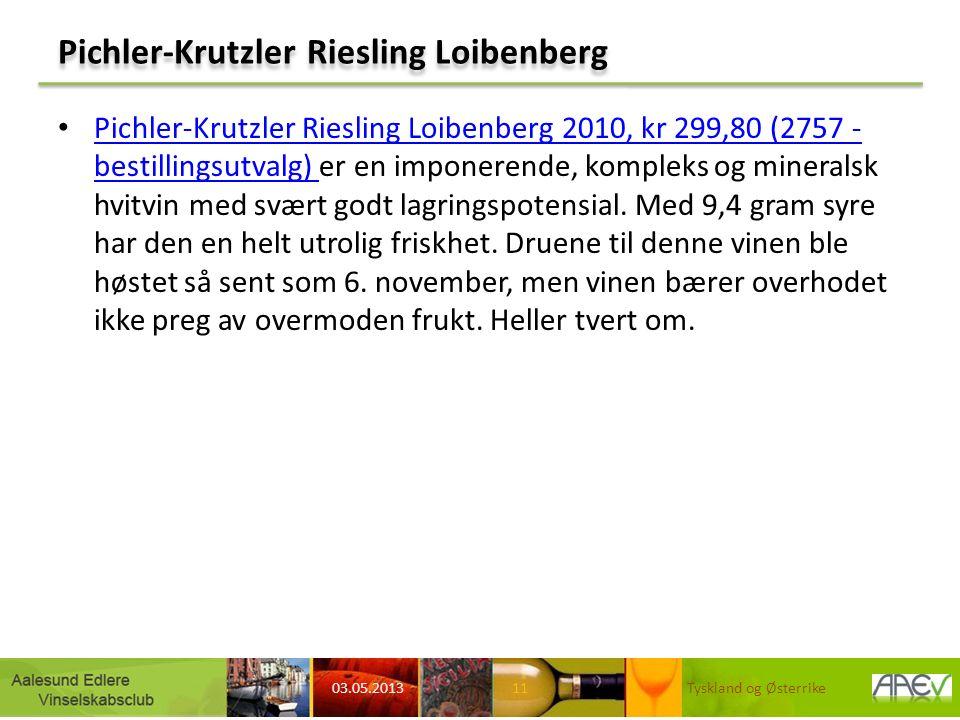 Pichler-Krutzler Riesling Loibenberg Pichler-Krutzler Riesling Loibenberg 2010, kr 299,80 (2757 - bestillingsutvalg) er en imponerende, kompleks og mineralsk hvitvin med svært godt lagringspotensial.