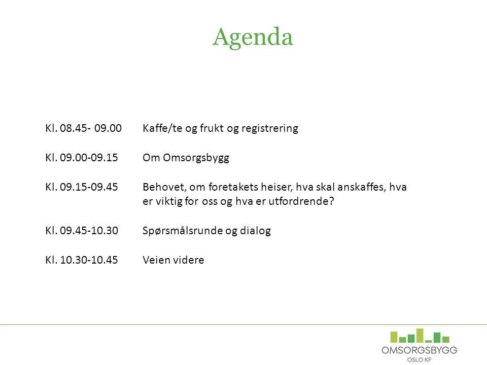 Agenda Kl. 08.45- 09.00 Kaffe/te og frukt og registrering Kl.
