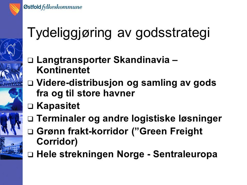 Tydeliggjøring av godsstrategi  Langtransporter Skandinavia – Kontinentet  Videre-distribusjon og samling av gods fra og til store havner  Kapasitet  Terminaler og andre logistiske løsninger  Grønn frakt-korridor ( Green Freight Corridor)  Hele strekningen Norge - Sentraleuropa
