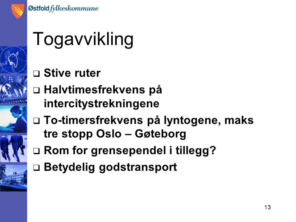 13 Togavvikling  Stive ruter  Halvtimesfrekvens på intercitystrekningene  To-timersfrekvens på lyntogene, maks tre stopp Oslo – Gøteborg  Rom for