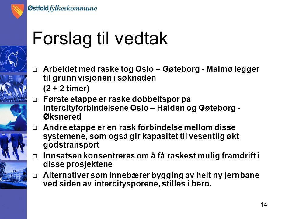 14 Forslag til vedtak  Arbeidet med raske tog Oslo – Gøteborg - Malmø legger til grunn visjonen i søknaden (2 + 2 timer)  Første etappe er raske dob