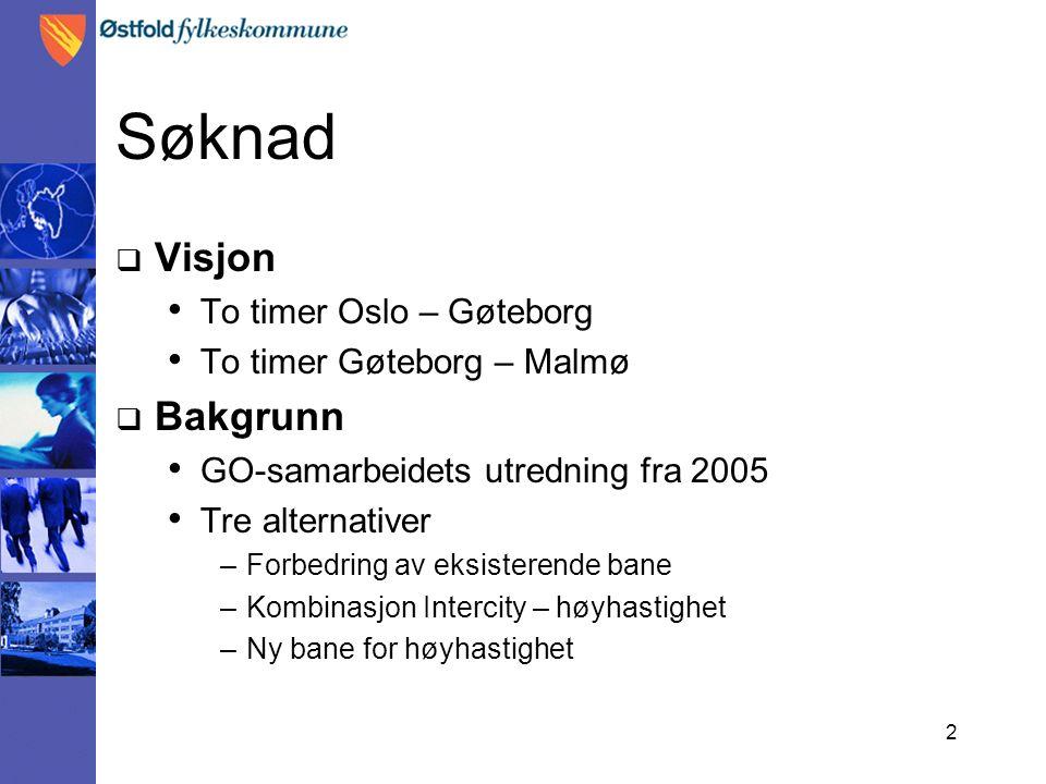 2 Søknad  Visjon To timer Oslo – Gøteborg To timer Gøteborg – Malmø  Bakgrunn GO-samarbeidets utredning fra 2005 Tre alternativer –Forbedring av eks
