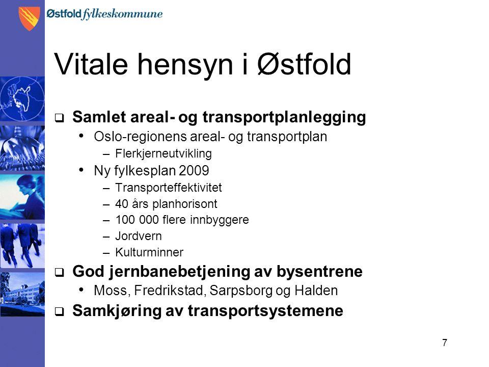 7 Vitale hensyn i Østfold  Samlet areal- og transportplanlegging Oslo-regionens areal- og transportplan –Flerkjerneutvikling Ny fylkesplan 2009 –Tran