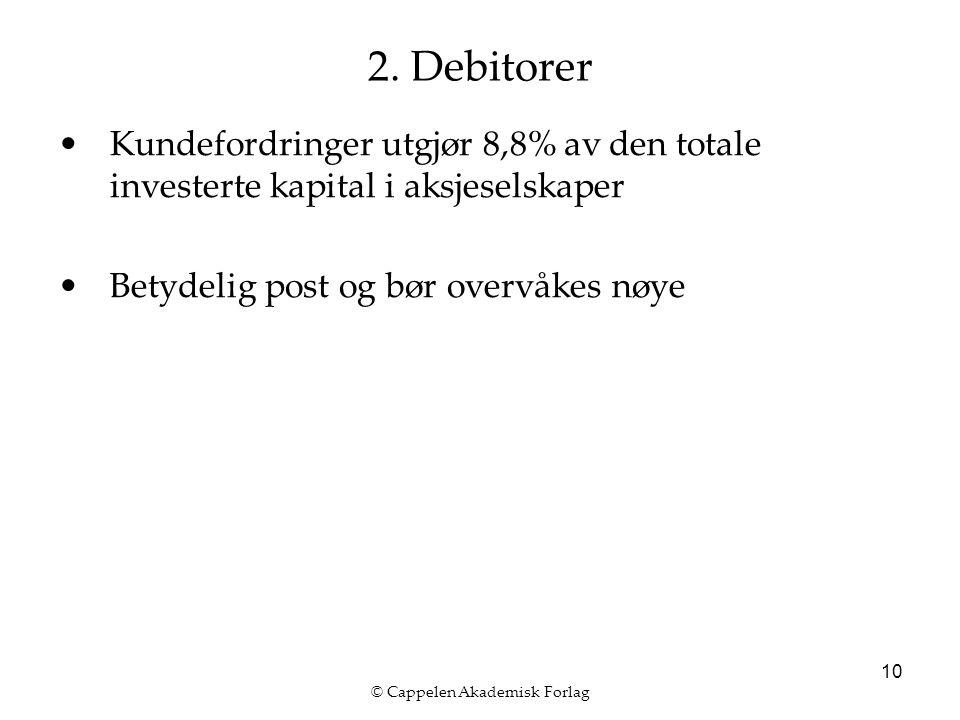 © Cappelen Akademisk Forlag 10 2. Debitorer Kundefordringer utgjør 8,8% av den totale investerte kapital i aksjeselskaper Betydelig post og bør overvå