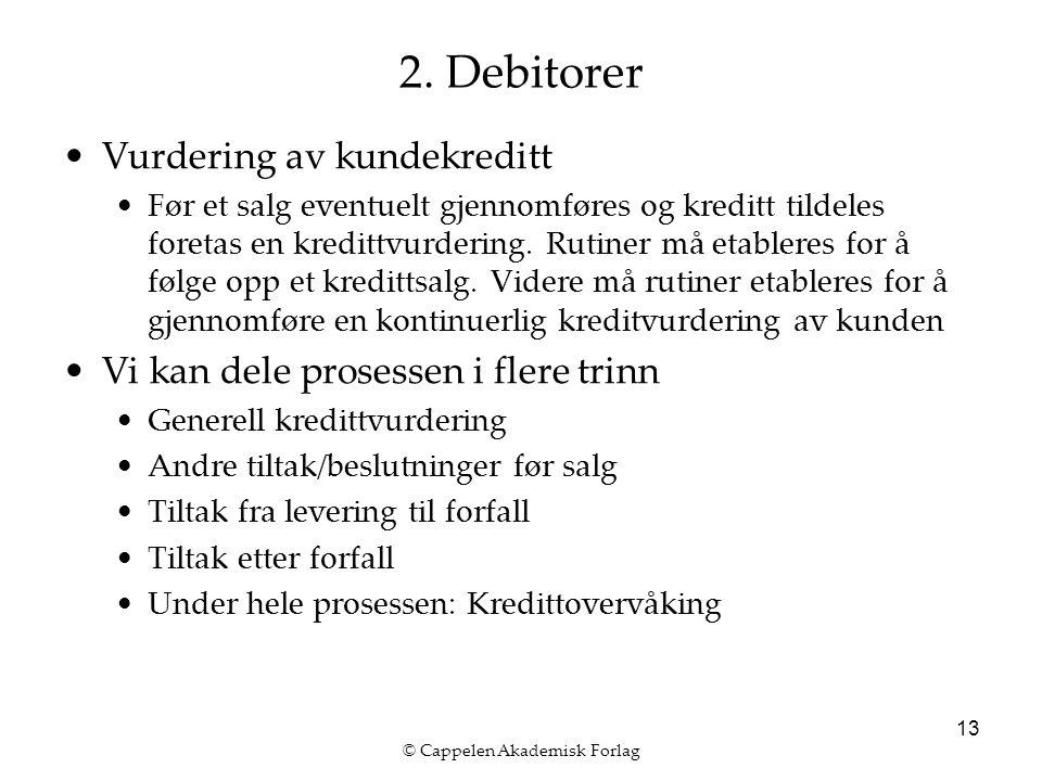© Cappelen Akademisk Forlag 13 2. Debitorer Vurdering av kundekreditt Før et salg eventuelt gjennomføres og kreditt tildeles foretas en kredittvurderi
