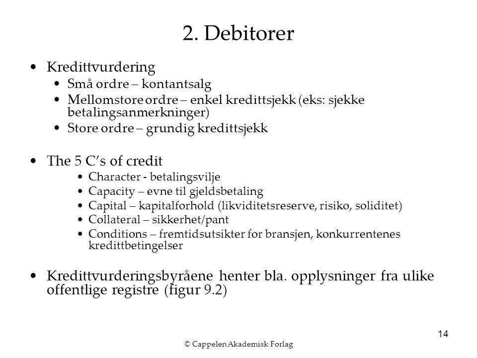 © Cappelen Akademisk Forlag 14 2. Debitorer Kredittvurdering Små ordre – kontantsalg Mellomstore ordre – enkel kredittsjekk (eks: sjekke betalingsanme
