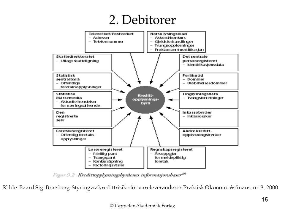 © Cappelen Akademisk Forlag 15 2. Debitorer Kilde: Baard Sig. Bratsberg: Styring av kredittrisiko for vareleverandører. Praktisk Økonomi & finans, nr.