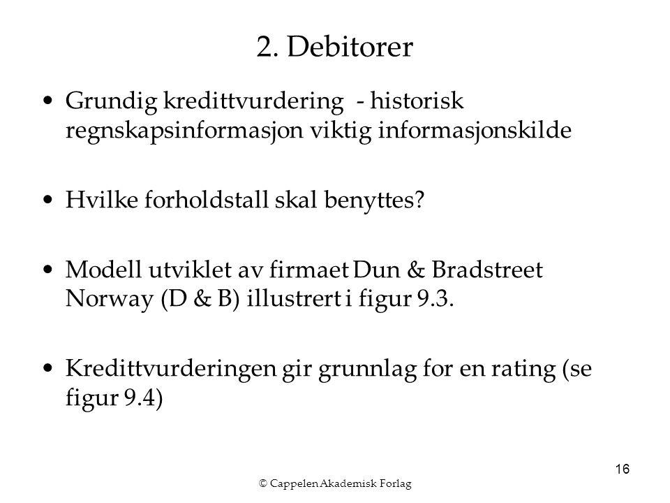 © Cappelen Akademisk Forlag 16 2. Debitorer Grundig kredittvurdering - historisk regnskapsinformasjon viktig informasjonskilde Hvilke forholdstall ska