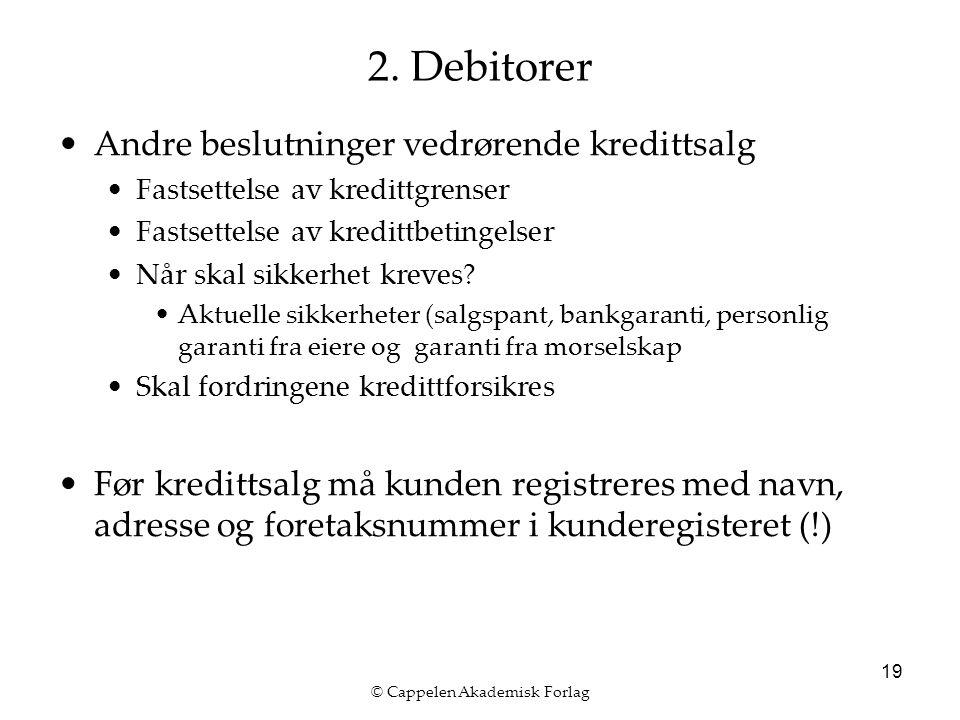 © Cappelen Akademisk Forlag 19 2. Debitorer Andre beslutninger vedrørende kredittsalg Fastsettelse av kredittgrenser Fastsettelse av kredittbetingelse