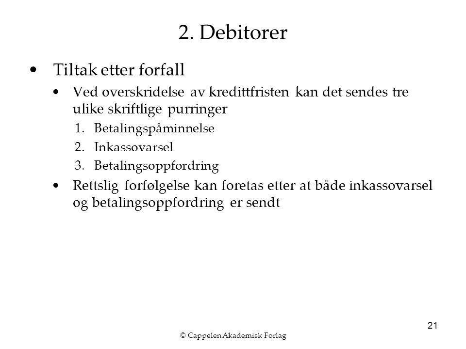 © Cappelen Akademisk Forlag 21 2. Debitorer Tiltak etter forfall Ved overskridelse av kredittfristen kan det sendes tre ulike skriftlige purringer 1.B
