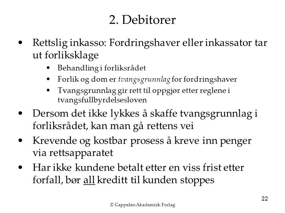 © Cappelen Akademisk Forlag 22 2. Debitorer Rettslig inkasso: Fordringshaver eller inkassator tar ut forliksklage Behandling i forliksrådet Forlik og