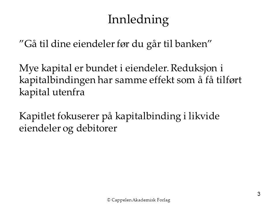 """© Cappelen Akademisk Forlag 3 Innledning """"Gå til dine eiendeler før du går til banken"""" Mye kapital er bundet i eiendeler. Reduksjon i kapitalbindingen"""