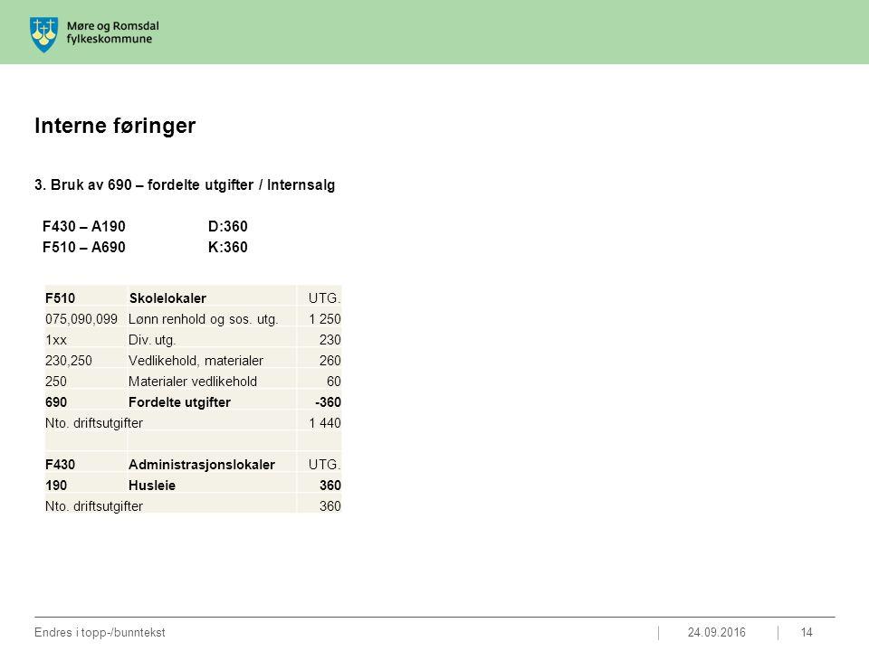 Interne føringer 3. Bruk av 690 – fordelte utgifter / Internsalg F430 – A190D:360 F510 – A690K:360 24.09.2016Endres i topp-/bunntekst14 F510Skolelokal