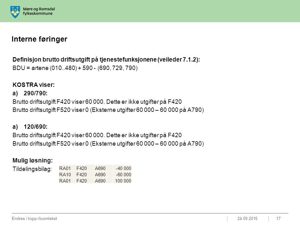 Interne føringer Definisjon brutto driftsutgift på tjenestefunksjonene (veileder 7.1.2): BDU = artene (010..480) + 590 - (690, 729, 790) KOSTRA viser: a)290/790: Brutto driftsutgift F420 viser 60 000.