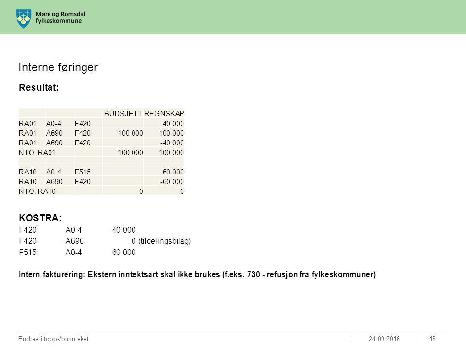 Interne føringer Resultat: KOSTRA: F420A0-440 000 F420A690 0 (tildelingsbilag) F515A0-460 000 Intern fakturering: Ekstern inntektsart skal ikke brukes (f.eks.