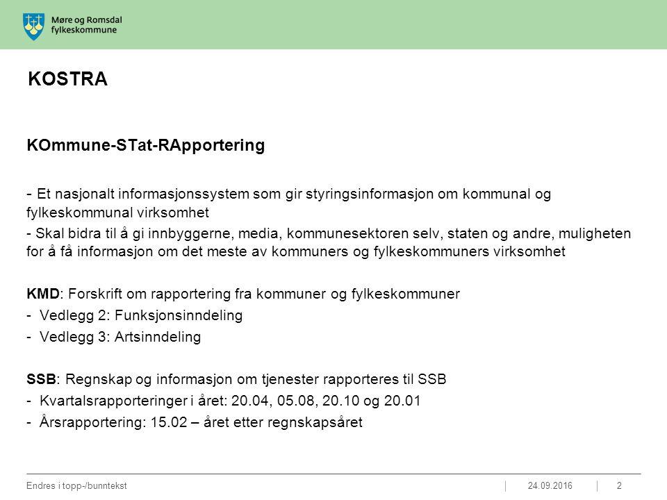 KOSTRA KOmmune-STat-RApportering - Et nasjonalt informasjonssystem som gir styringsinformasjon om kommunal og fylkeskommunal virksomhet - Skal bidra til å gi innbyggerne, media, kommunesektoren selv, staten og andre, muligheten for å få informasjon om det meste av kommuners og fylkeskommuners virksomhet KMD: Forskrift om rapportering fra kommuner og fylkeskommuner -Vedlegg 2: Funksjonsinndeling -Vedlegg 3: Artsinndeling SSB: Regnskap og informasjon om tjenester rapporteres til SSB -Kvartalsrapporteringer i året: 20.04, 05.08, 20.10 og 20.01 -Årsrapportering: 15.02 – året etter regnskapsåret 24.09.2016Endres i topp-/bunntekst2
