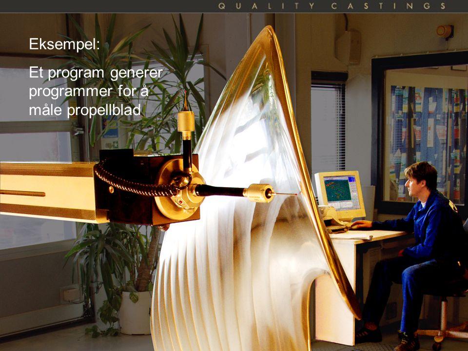 Kai A. Olsen, 24.09.2016 27 Eksempel: Et program generer programmer for å måle propellblad
