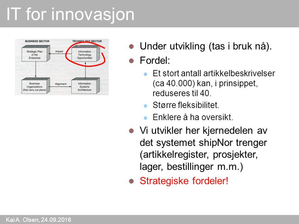 Kai A. Olsen, 24.09.2016 51 IT for innovasjon Under utvikling (tas i bruk nå).