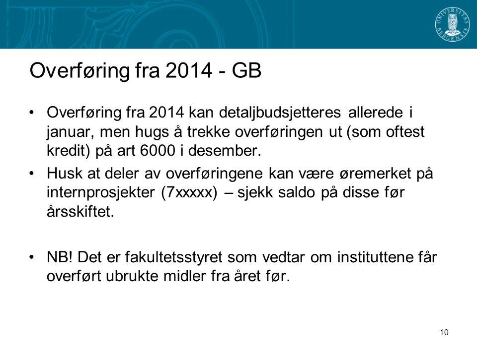 Overføring fra 2014 - GB Overføring fra 2014 kan detaljbudsjetteres allerede i januar, men hugs å trekke overføringen ut (som oftest kredit) på art 6000 i desember.