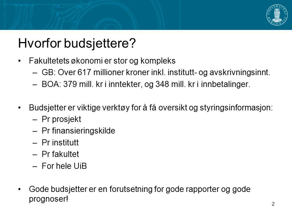 Hvorfor budsjettere? Fakultetets økonomi er stor og kompleks –GB: Over 617 millioner kroner inkl. institutt- og avskrivningsinnt. –BOA: 379 mill. kr i