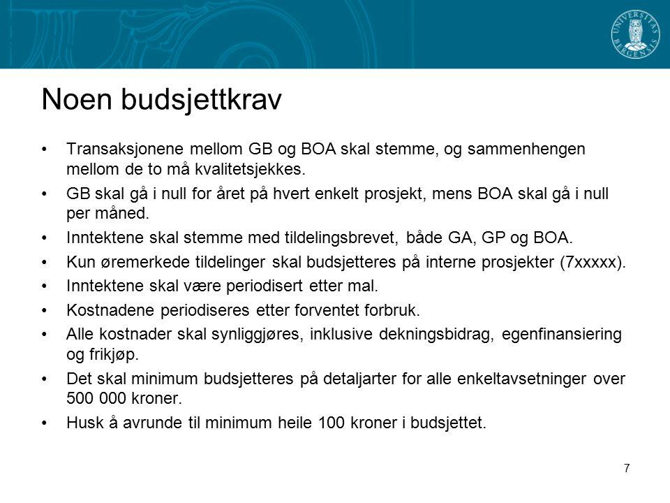 Noen budsjettkrav Transaksjonene mellom GB og BOA skal stemme, og sammenhengen mellom de to må kvalitetsjekkes. GB skal gå i null for året på hvert en