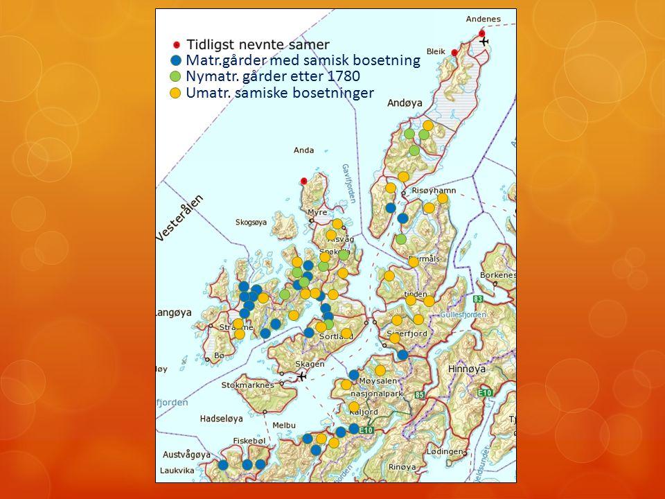 Matr.gårder med samisk bosetning Nymatr. gårder etter 1780 Umatr. samiske bosetninger