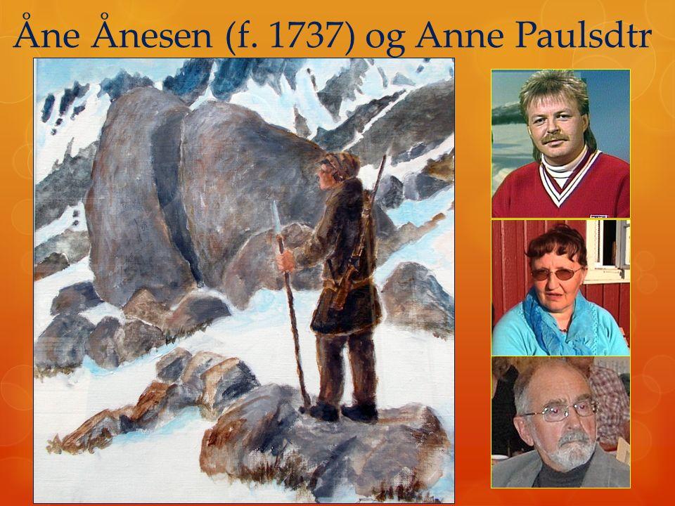 Åne Ånesen (f. 1737) og Anne Paulsdtr  9 barn  41 barnebarn  56 oldebarn  133 tippoldebarn  303 2 x tippoldebarn  337 3 x tippoldebarn (i dag ov