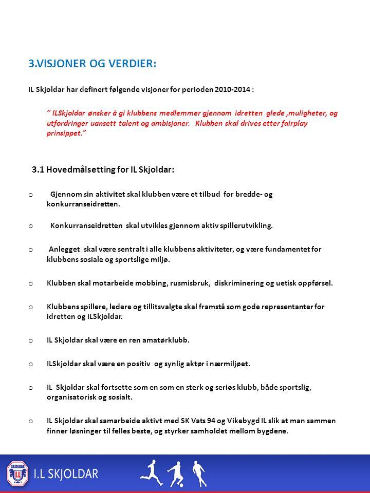 3.VISJONER OG VERDIER: IL Skjoldar har definert følgende visjoner for perioden 2010-2014 : lLSkjoldar ønsker å gi klubbens medlemmer gjennom idretten glede,muligheter, og utfordringer uansett talent og ambisjoner.