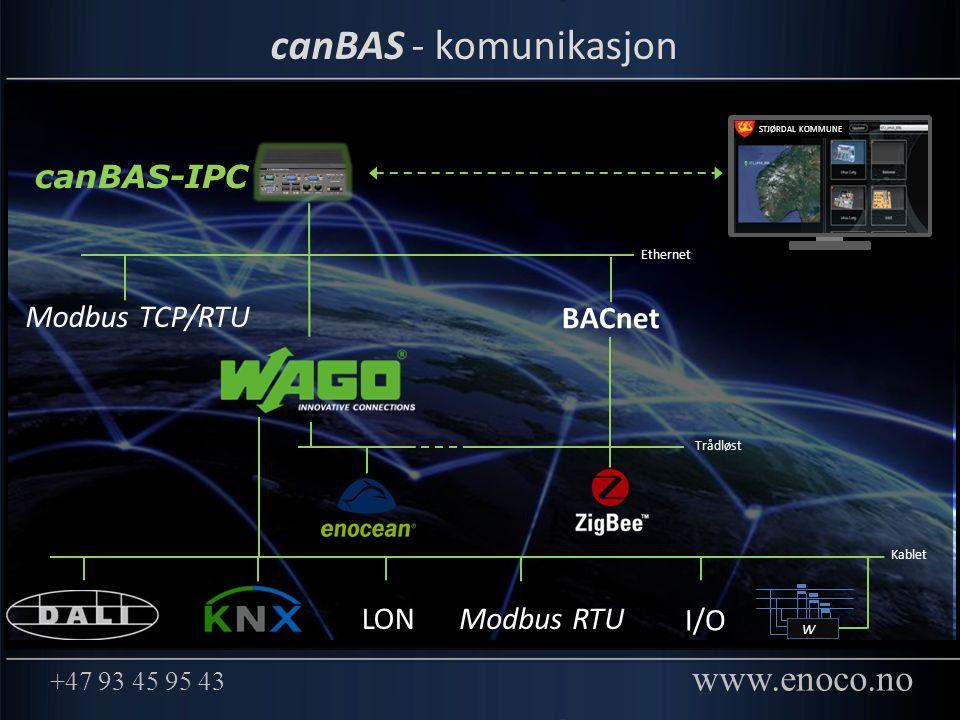 +47 93 45 95 43 www.enoco.no canBAS - komunikasjon Trådløst Ethernet W LONModbus RTU I/O Modbus TCP/RTU Kablet STJØRDAL KOMMUNE BACnet canBAS-IPC