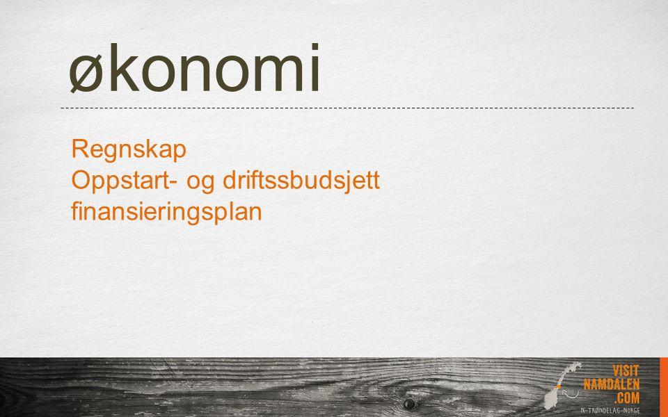 økonomi Regnskap Oppstart- og driftssbudsjett finansieringsplan