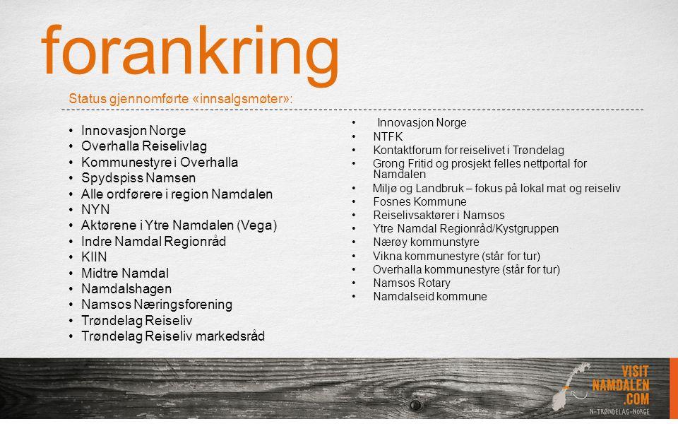 forankring Innovasjon Norge NTFK Kontaktforum for reiselivet i Trøndelag Grong Fritid og prosjekt felles nettportal for Namdalen Miljø og Landbruk – f