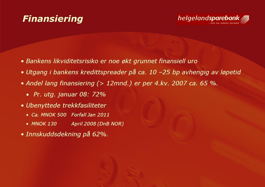 Finansiering Bankens likviditetsrisiko er noe økt grunnet finansiell uro Utgang i bankens kredittspreader på ca. 10 –25 bp avhengig av løpetid Andel l