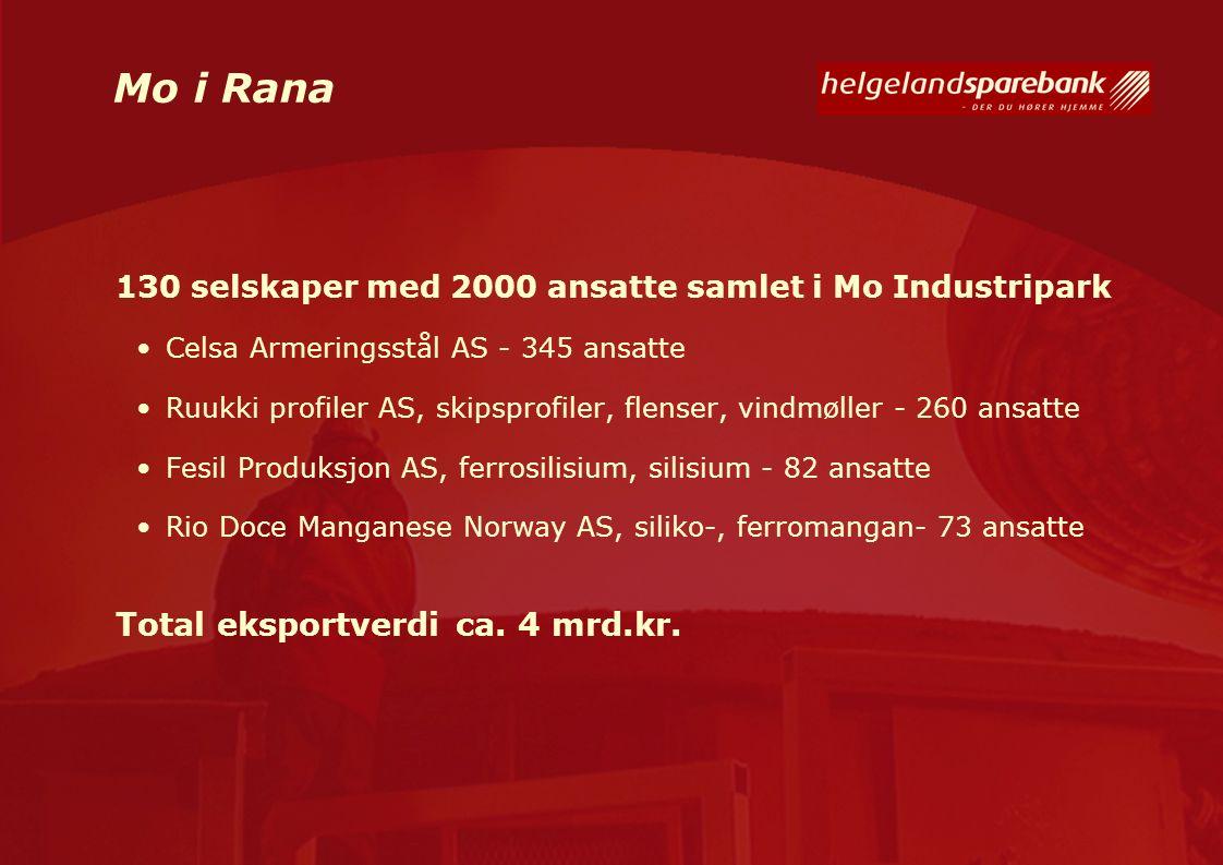 Mo i Rana 130 selskaper med 2000 ansatte samlet i Mo Industripark Celsa Armeringsstål AS - 345 ansatte Ruukki profiler AS, skipsprofiler, flenser, vin