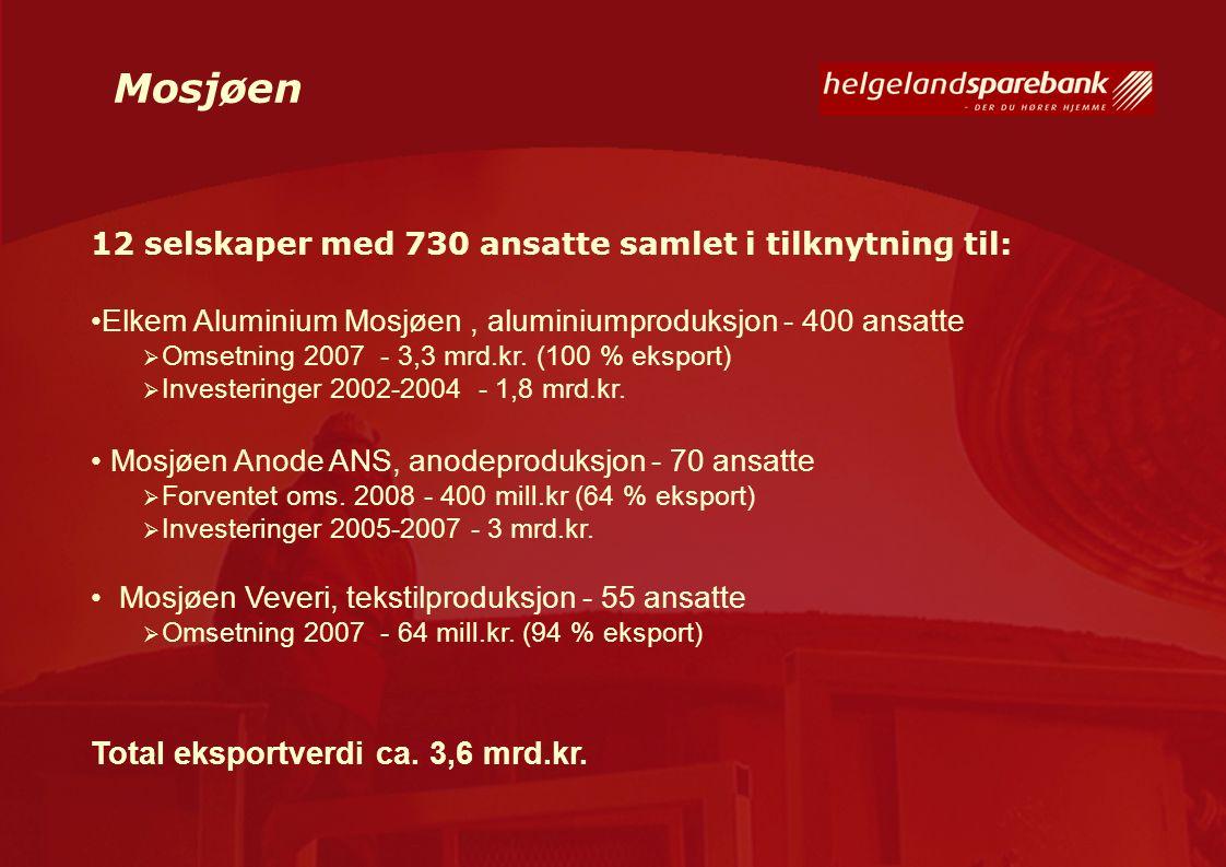 Mosjøen 12 selskaper med 730 ansatte samlet i tilknytning til: Elkem Aluminium Mosjøen, aluminiumproduksjon - 400 ansatte  Omsetning 2007 - 3,3 mrd.k