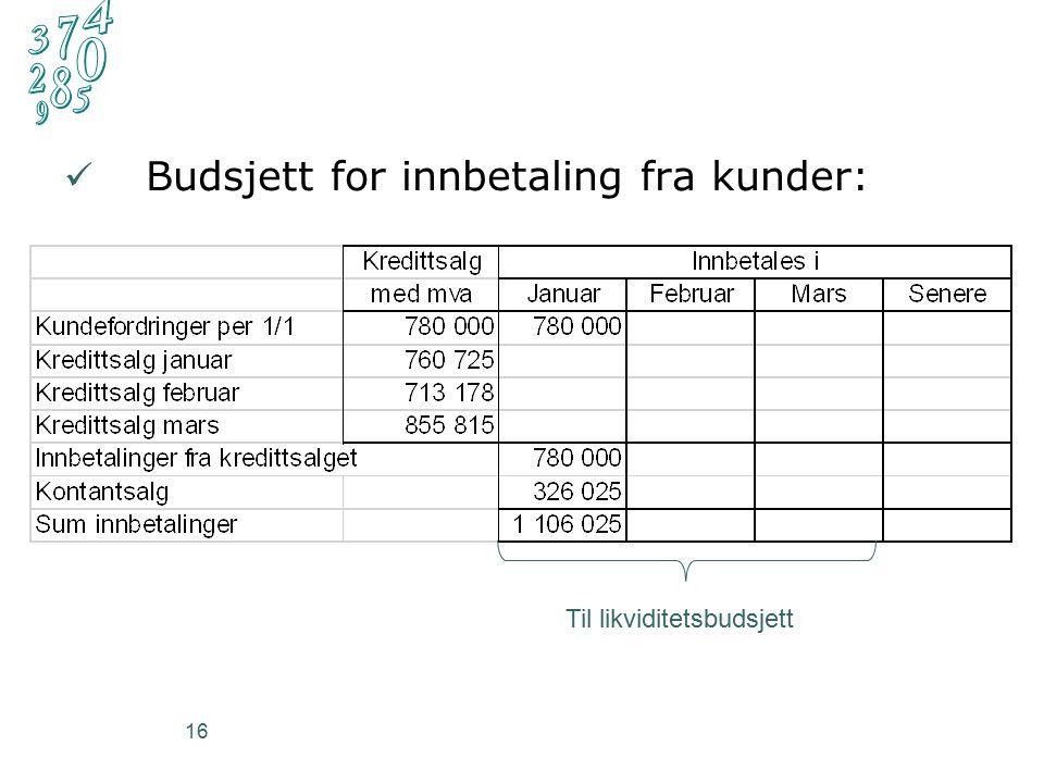 16 Budsjett for innbetaling fra kunder: Til likviditetsbudsjett