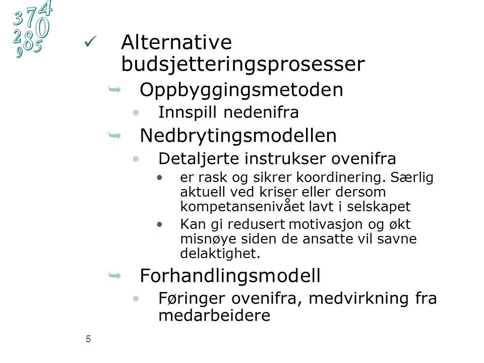 5 Alternative budsjetteringsprosesser  Oppbyggingsmetoden Innspill nedenifra  Nedbrytingsmodellen Detaljerte instrukser ovenifra er rask og sikrer koordinering.