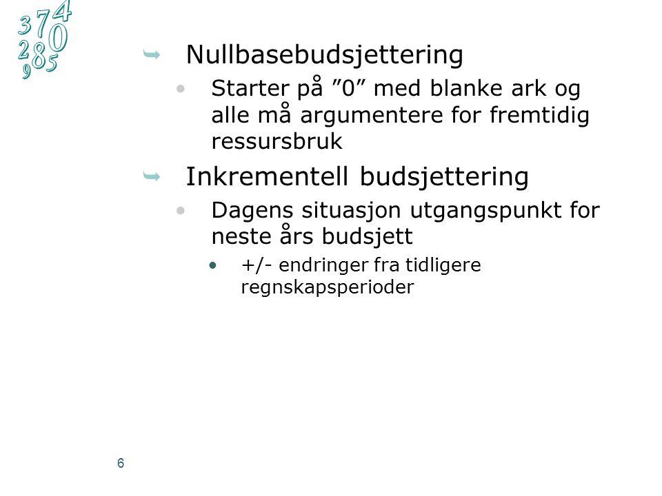 6  Nullbasebudsjettering Starter på 0 med blanke ark og alle må argumentere for fremtidig ressursbruk  Inkrementell budsjettering Dagens situasjon utgangspunkt for neste års budsjett +/- endringer fra tidligere regnskapsperioder
