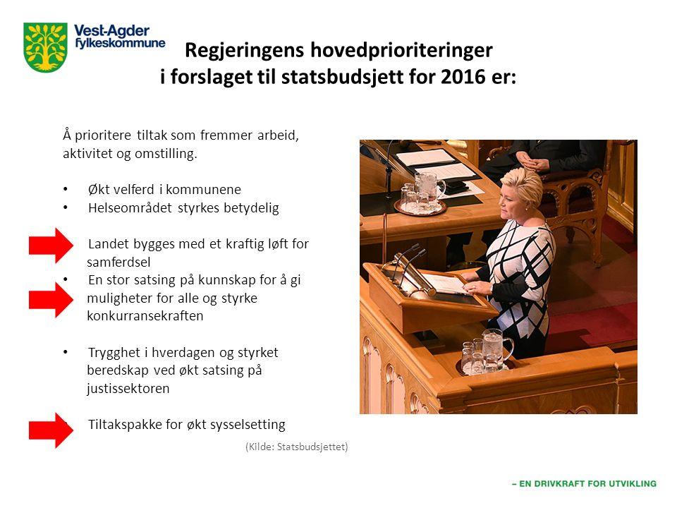 Regjeringens hovedprioriteringer i forslaget til statsbudsjett for 2016 er: Å prioritere tiltak som fremmer arbeid, aktivitet og omstilling.